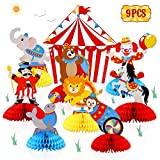 Circus Carnival Animals Honeycomb Centerpieces 3D Table Decorations for Circus Carnival Birthday Baby Shower Party Decorations Supplies Set of 9