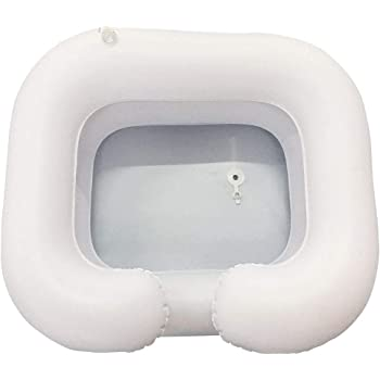 Inflatable Hair Washing Basin, Portable Bedside Shower,Shampoo and Conditioner Basin, Wash Hair in Bed, for Injured, Elderly, Bed-Bound,Handicapped, Easily Clean Hair(White)