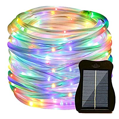 Sunkite Solar Rope Led String Lights, 39ft 100 LED Solar Powered Garden Fairy Fence Lights, Waterproof Yard Patio Starry Light Decor with Clip (Warm White)