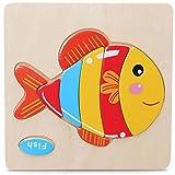 Skyeye Bloque de Animales de Madera Puzzle Kid Niños Juguete Educativo Puzzle Cartoon Bebé Early Educational Intelligence Toys (Fish)