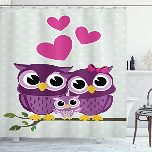 Endearing Shower Curtain Portrait with Owl Couple and Baby Owl