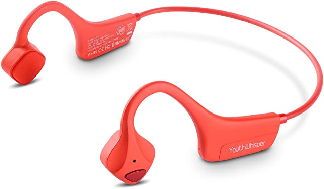 YouthWhisper Bone Conduction Headphones - Bluetooth 5.0v Headset with Microphone, Titanium Lightweight Wireless Open-Ear Sweat Resistant, Answer Phone Call, for Running Hiking Driving Bicycling - Red