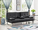 Naomi Home Futon Sofa with Armrest and Cupholders Black