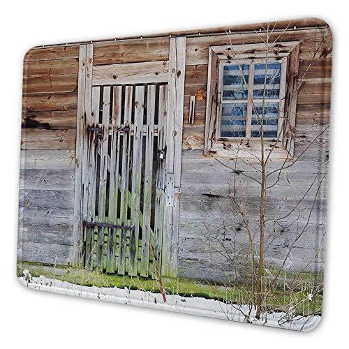 Primitive Land Mauspad Muster Retro vernachlässigt altes Bauernhaus rustikale Holztür und Fenster ländlichen personalisierten Design Computer Mauspad braun grün silber, Es