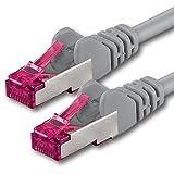 30m - Gris - 1 Pieza - CAT6a Cat 6a Ethernet LAN Cable de Red - Set 10 GB/s Cable Patch CAT6 S-FTP Doble blindado PIMF 500MHz Libre de halógenos Compatible con CAT5 CAT6a CAT7 CAT8