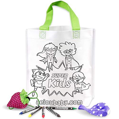 25 Tassen om in te kleuren + 1 Herbruikbare draagtas | 25 individuele zakjes met 5 wax kleurpotloden en ballon | Cadeau kinderen voor feestjes en verjaardagen