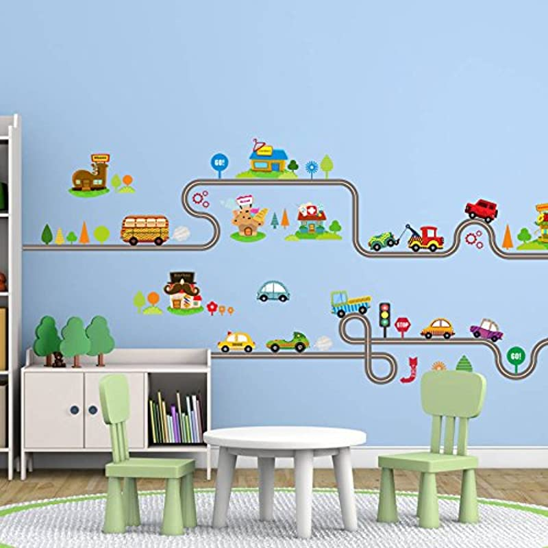 Amaonm Removable Cute Cartoon Kids Room Wall Decal DIY Vinyl City Car Circled Curved Road Wall Stickers Decor For Children Babys Bedroom Studyroom Playroom Nursery Room School A