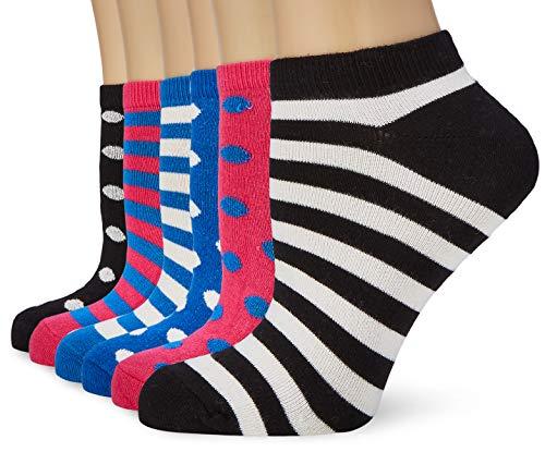 FM London Bamboo Trainer Calcetines, Multicolor (Stripes & Dots Dark 10), Talla única (Talla del fabricante: UK 4-8 EU 37-42) (Pack de 6) para Mujer