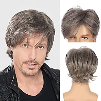 Sallcks Men Grey Wig Short Curly Fluffy Layered Natural Synthetic Cosplay Costume Wigs for Male Guy