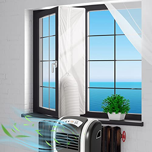 Window Seal for Portable Air Conditioner, 400CM/158Inch Universal Window Seal for AC Unit and Tumble Dryer, Waterproof No Drilling Easy to Install, Air Exchange Guards With Zip and Adhesive Fastener