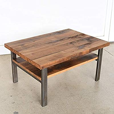 Homey Essense Metal & Sheesham Wood Finish Center Coffee Table for Living Room Dinning Room Hall Home (Black)