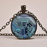 Collier avec pendentif en forme de plaque de circuit imprimé Bleu