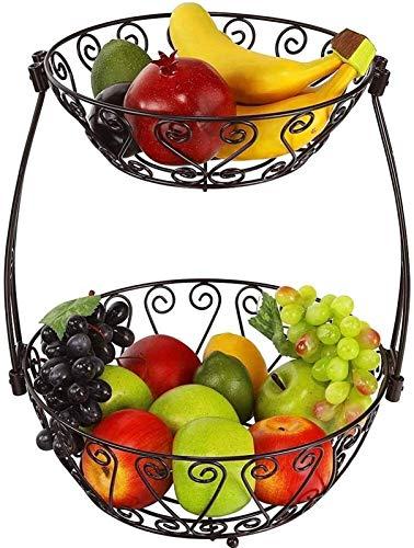 Cesta de frutas y verduras, 2 niveles, para decoración de mesa, cesta de frutas, verduras, cesta de almacenamiento para utensilios de cocina (color: -, tamaño: -)