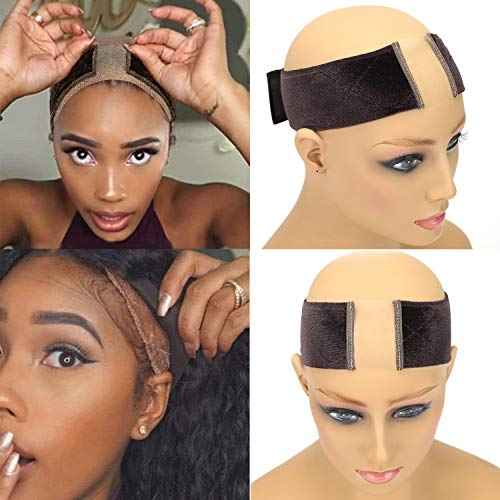 NAISIER Lace Grip Cap All in One WiG Grip Comfort Band & Wig Cap Lace Wig Grip Band for Women,Brown