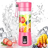 Portable Blender, Personal Blender, Small Fruit Mixer, Electric USB Rechargeable Juicer Cup, Fruit Mixing Machine Home,Travel (Pink)