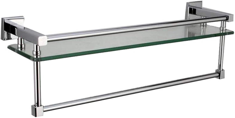 Glass Shelf,Glass Bathroom Shelf, Wall Mount,with 304 Stainless SteelTowel Bar,and Rail Brushed Finish Bathroom Glass Shelf (Size   31.5cm 12.4'')