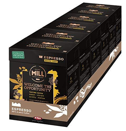 Mr and Mrs Mill Espresso Blonde Roast Verismo Compatible Welcome the Opportunity Single Serve Coffee Pods 72 Count (6 boxes of 12 Pods each)