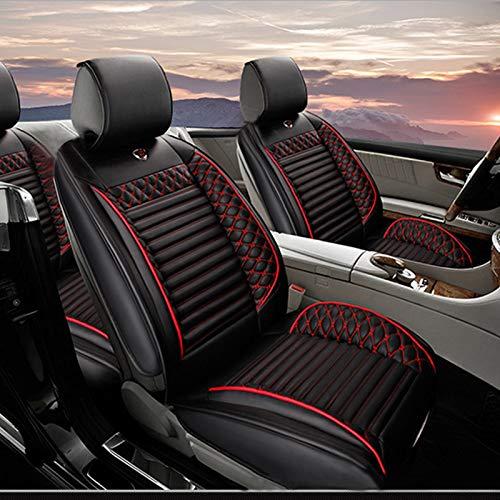 Fundas Asientos Coche Para Seat Ateca Arona Ibiza Leon Mii Protector Asiento Cuero Universales 5-Asiento,Súper Suave Cómodo Negro rojo Estándar