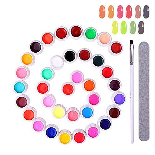 Colori Gel Unghie, Anself 8 ml * 36 Colori Gel Colorati UV Smalto per Unghie Set Pigmenti per Unghie Artistiche con Pennello e Lima per Unghie