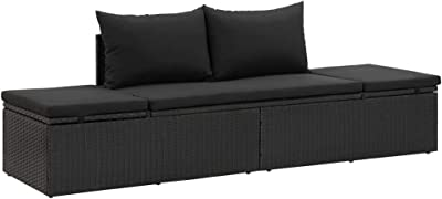 Outdoor Daybed,Patio Accent Sofa Sand Daybed Sun Bed with Cushions Poly Rattan Black