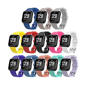 I-SMILE Silicone Bands Compatible for Fitbit Versa 2 / Fitbit Versa/Fitbit Versa Lite Bands Replacement Wristband with Buckle for Fitbit Versa Fitness Smart Watch 13 Colors Large Small