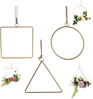 FightingFly Set of 3 Metal Geometric Hoop Wreath Frame, Artificial Flower Garland Hanging Pendant for Home Kitchen Wall Art Decoration