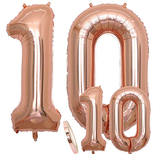 Balloons Number 10 Birthday XXL Or Rose - Figures de Ballon Géantes en 2 Tailles, 40 'et 16' | Set XXL Version 100cm + Mini 40cm Décorations D'anniversaire | Idéal Pour le 10 ème Comme Décoration