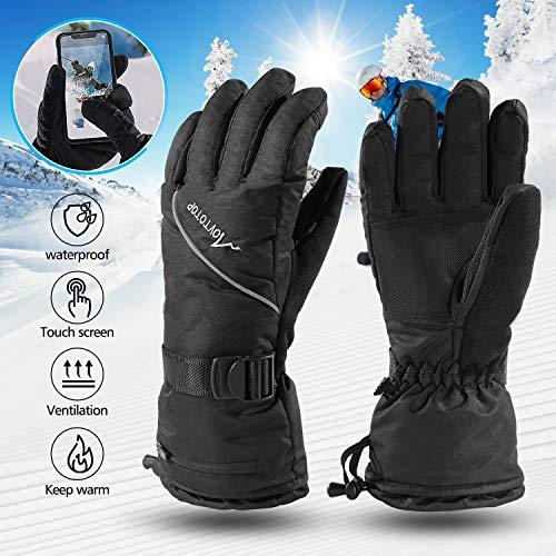 MOVTOTOP Skihandschuhe Herren, wasserdichte Touchscreen Winterhandschuhe Warm 3M Thinsulate Snowboard Handschuhe Winter Schneehandschuhe Geeignet für Outdoor-Sport wie Skifahren und Radfahren (L)