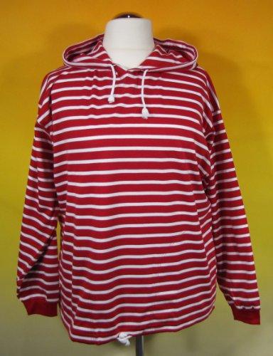 modAS Bretonisches Damen Kapuzenshirt Streifen Hemd rot/weiß gestreift 2900_02 Größe 36 (Damen)