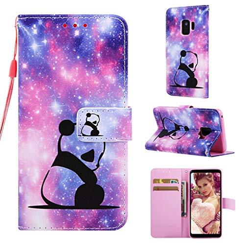 NiaCoCo Schutzhülle für Samsung Galaxy S9, Leder, mit Kartenfächern, Brieftasche, 3D-Muster, Magnetverschluss, inkl. 1 Displayschutzfolie (Baby Panda)