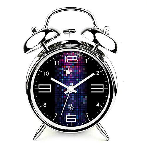 A-Nice Twin Bell Alarm Clock Fonctionne à la Batterie, Alarme électronique en métal mécanique muet créative avec Cadran stéréoscopique, veilleuse, ne Contenant Pas pour la Chambre à Coucher