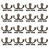 16 Pack Double Prong Robe Hook, Zinc Alloy Rust Proof Durable, Suit Bathroom Bedroom Kitchen Door Wall Coat Hanger, for Bath Towel, Hats, Key, Cup, Clothes, Accessories Cloth Hanger, Retro Bronze