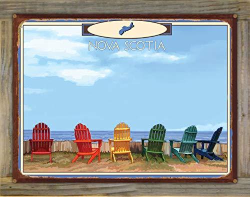Northwest Art Mall Nova Scotia Adirondack Chairs Rustic Metal Print on Reclaimed Barn Wood from Alla Prima Painting by Artist Joanne Kollman 18' x 24'