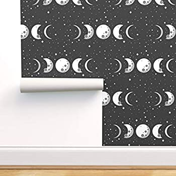 Spoonflower Peel and Stick Removable Wallpaper Moon Space Phases Witch Stars Goddess Universe Black White Moon Phases Science Wicca Print Self-Adhesive Wallpaper 12in x 24in Test Swatch