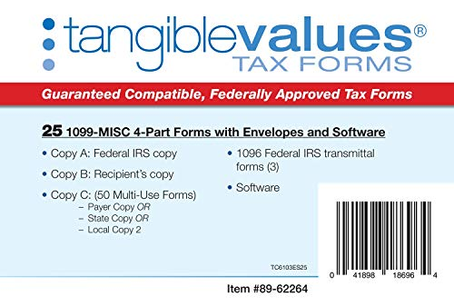 1099 Misc Tax Forms 2019 - Tangible Values 4-Part Kit with Envelopes - TPF Software Included, 25 Pack Photo #6