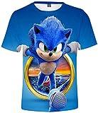 Silver Basic Camiseta de Sonic The Hedgehog para Niños y Niñas Camiseta Sonic Fanáticos de los Videojuegos de Sonic Camisa de Sonic Cosplay S,755Círculo Sonic-1