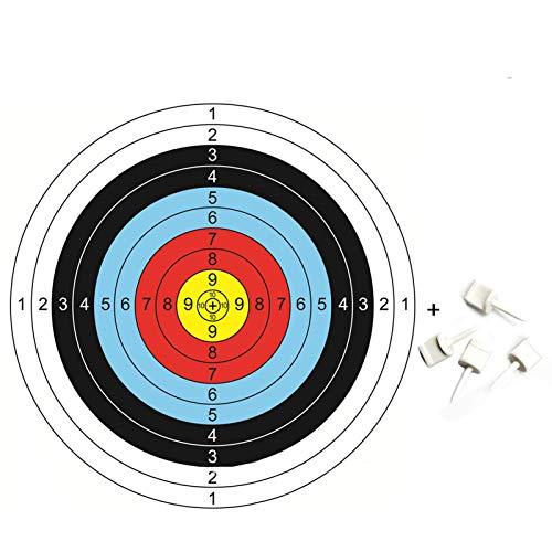 Outdoor-shooter 20 Stück Bogenschießen Papier Ziele mit Zielen Nagelstifte Pfeil Ziele Schießzubehör Ideal für Match und tägliches Training