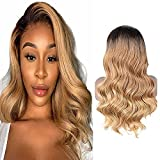 Perruque Cheveux Humain Body Wave Ombre Honey Blonde Human Hair Wig 13x4x1 Middle Part Pre Plucked Tissage Bresilien Boucle T Part Lace Frontal Wigs With Baby Hair 130% Density 12 Pouce