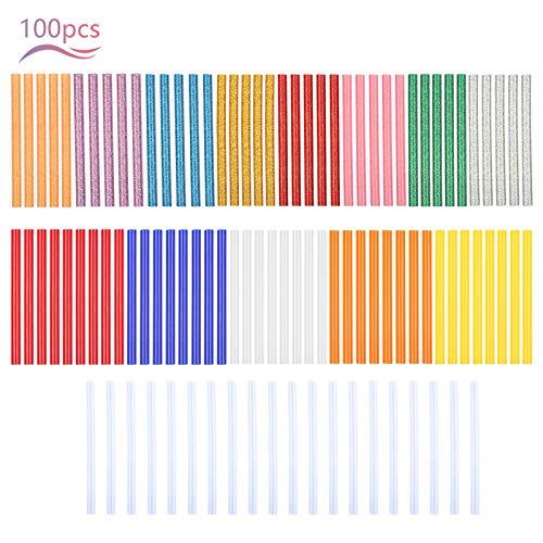 LAITER 100 Unids Colores Barra de Pegamento Caliente DIY Transparente Barra de Pegamento Caliente Barra de Pegamento Caliente Multifunción Pistola Adhesiva Caliente para Flores de Metal Arte DIY
