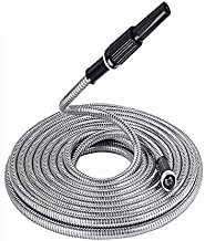 WFLNHB Flexible Lightweight 304 Stainless Steel Garden Hose,Lightweight Metal Water Hoses with Nozzle for Puncture Resistant, Portable (75)