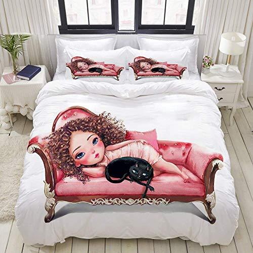 Funda nórdica, niña afroamericana de Dibujos Animados con un Gato en el sofá Rosa cómodo, Juego de Cama Juegos de Microfibra de Lujo Ultra cómodos y livianos