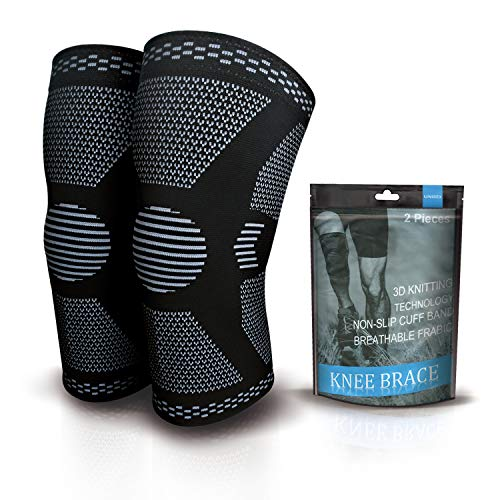 2 Pack Knee Compression Sleeve - Knee Brace for Men & Women, Knee Support for Working Out, Running, Basketball, Gym, Weightlifting, Workout, for Arthritis Joint Pain Relief, Size L