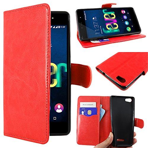 ebestStar - kompatibel mit Wiko Fever SE Hülle Special Edition Kunstleder Wallet Hülle Handyhülle [PU Leder], Kartenfächern, Standfunktion, Rot [Phone: 149.5 x 73.9 x 9.1mm, 5.2'']