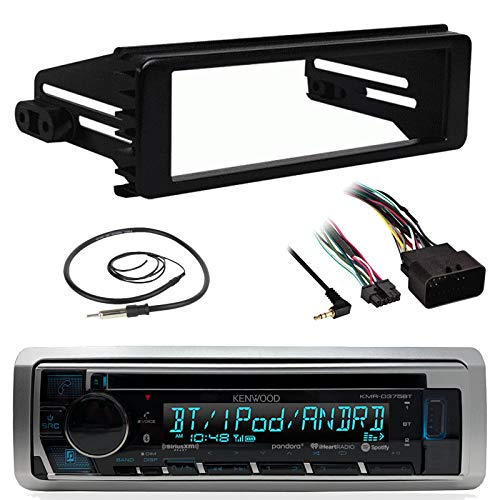 Kenwood KMRD375BT Stereo Receiver CD MP3 Player Head Unit - Bundle Combo with Metra 99-9600 Single DIN Dash Installation Kit + Enrock 22 Wired AM/FM Radio Antenna for 1998-2013 Harley Motorcycles