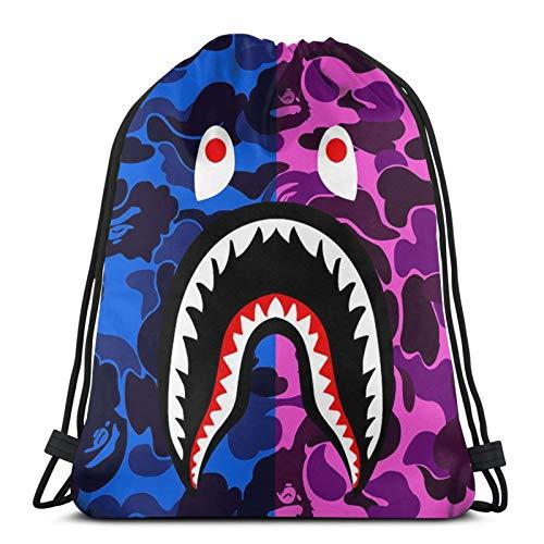 Bape Hai-Rucksack mit Kordelzug, für Damen und Herren, Turnbeutel, Schule, Reisen, Schwimmen, Athletik, Sport