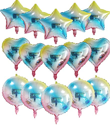 """15 Pack 18"""" Assorted Heart Shaped Helium Foil Balloons Star Balloons Round Balloons Rainbow Colors Mylar Globos for Baby Shower Birthday Wedding Graduation Summer Luau Party Decorations"""