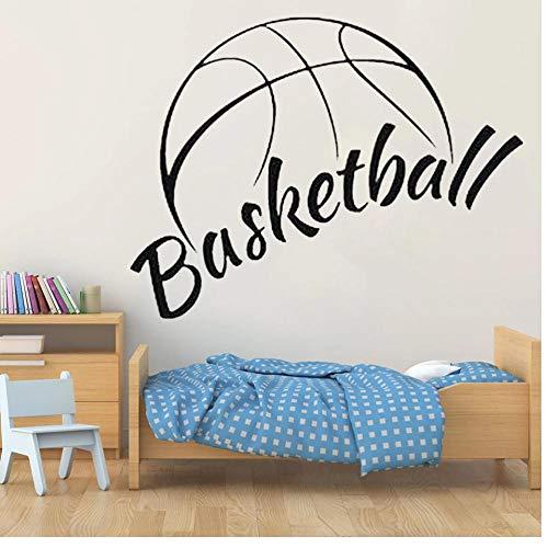 Sticker mural vinyle autocollant stickers basket ballon panier jouer Sport mot signe citation Sport chambre décor peintures murales 57X52cm
