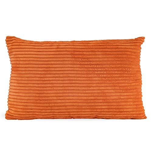 F.S.Design Funda de cojín de terciopelo (sin relleno), cojín decorativo, tamaño de cojín, color naranja, 30 x 50 cm