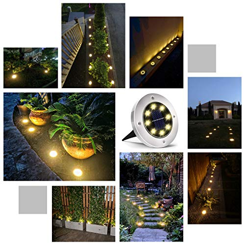 Solar Ground Lights, 8 LED Solar Garden Lights, Outdoor Solar Disk Lights, Waterproof In-Ground Lights, Landscape Lights for Pathway, Yard, Deck, Patio, Walkway, 8 Packs, Warm White
