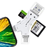 SD Card Reader, STTARLUK Trail Camera Viewer Memory Card Reader Compatible with iPhone/ipad/Android/Mac/Computer/Camera, 4 in1 Micro SD Card Reader Compatible with SD and TF Cards(White
